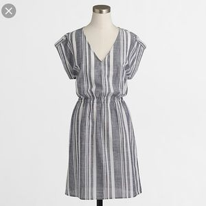 J.Crew Factory Cotton V-Neck Striped Dress Blue XS